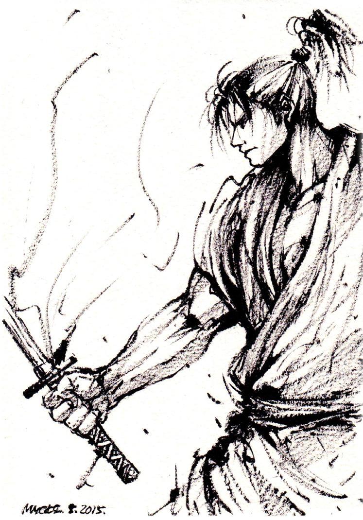 Samurai ink sketch 2 by MyCKs