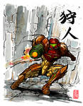 Samus from Metroid with calligraphy