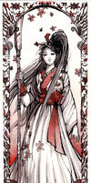 Girl in Hakama Sumi ink