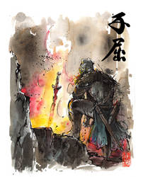 Dark Souls Bonfire sumi/watercolor style by MyCKs