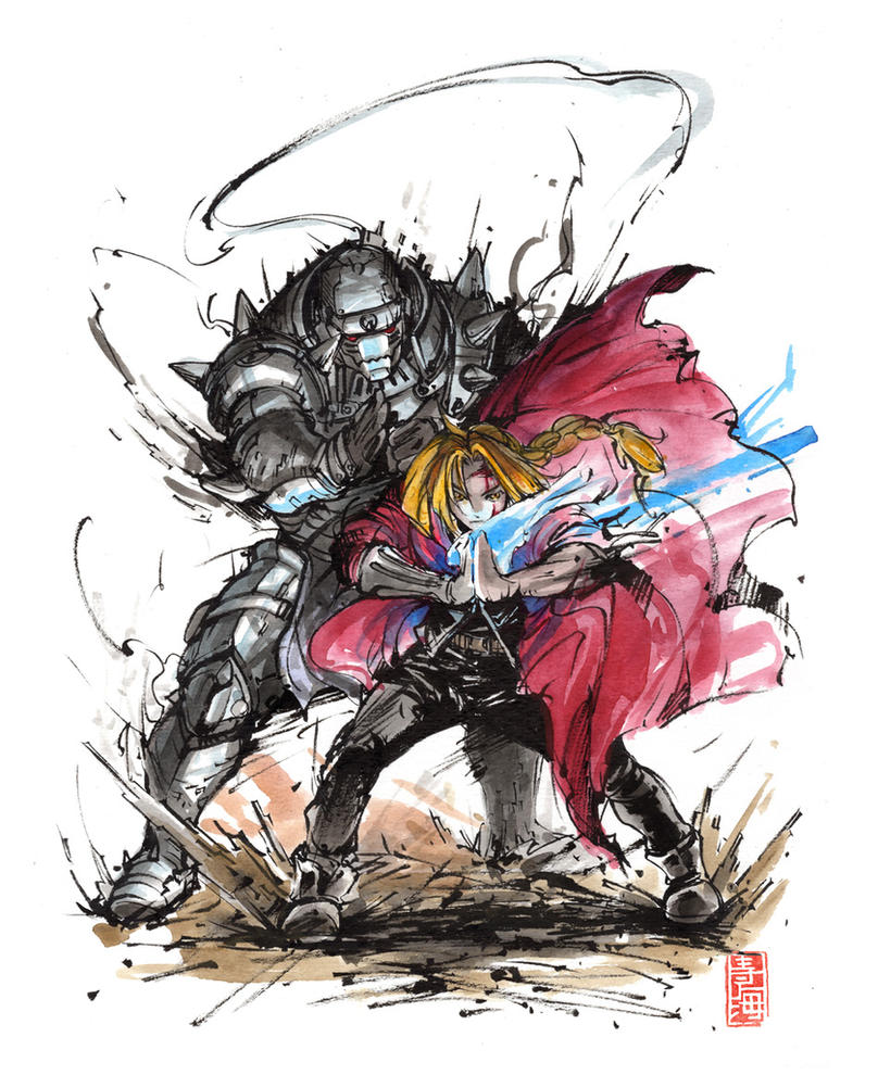 Elric Brothers sumi and watercolor by MyCKs