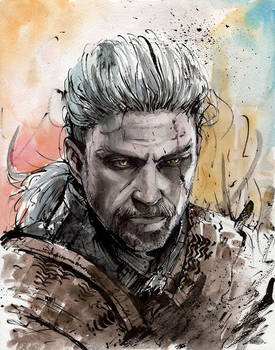 Geralt of Rivia watercolor and sumi ink