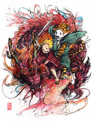 Calvin and Hobbes on a Red Dragon by MyCKs