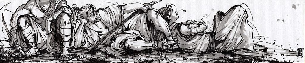 3 Samurais lounging on a Shikishi board by MyCKs