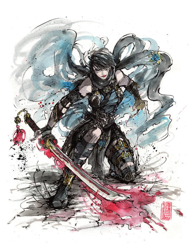 Bayonetta Sumi and watercolor by MyCKs