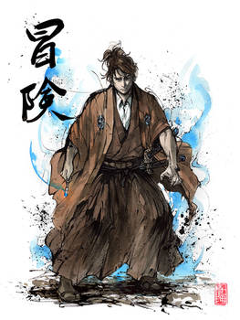 Doctor Who samurai with calligraphy