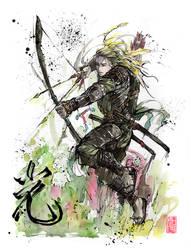 Legolas Samurai Archer Sumi and watercolor