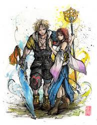 Final Fantasy Tidus and Yuna by MyCKs