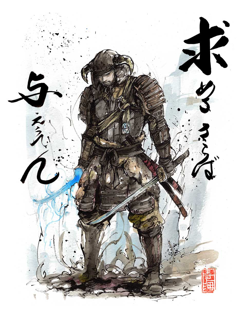 It is an image of Magic Samurai Warrior Drawing
