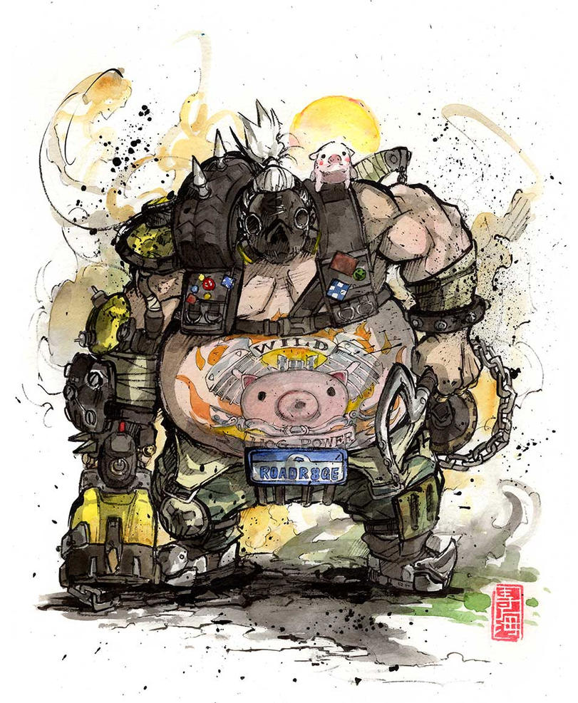 Roadhog from Overwatch sumi and watercolor by MyCKs