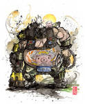 Roadhog from Overwatch sumi and watercolor