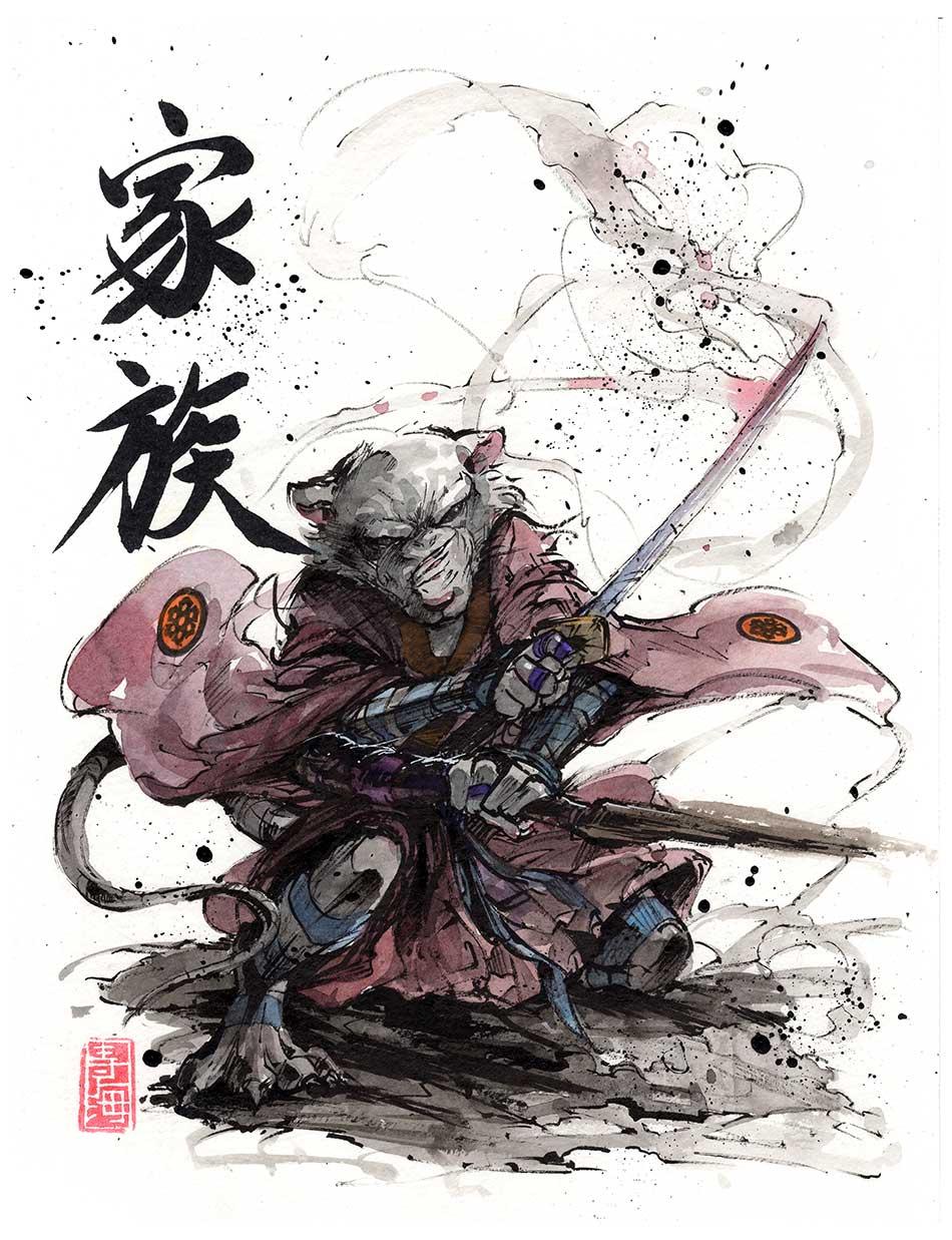 Master Splinter Sumi and watercolor