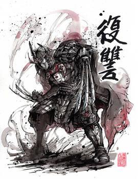 Master Shredder sumi and watercolor
