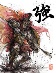 Spartan with calligraphy Strength by MyCKs