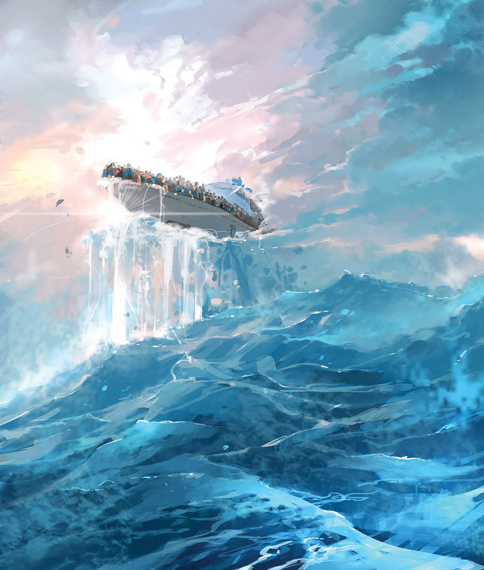 Ocean Painting as usual ^^ Floating boat by MyCKs on ...