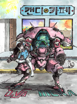 D.va from Overwatch watercolor