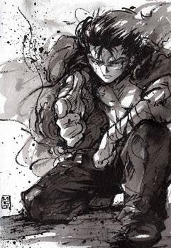 Yusuke Urameshi from Yu Yu Hakusho sumi ink