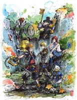 Kingdom Hearts fanart Sumi ink and watercolor by MyCKs