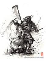 Samurai Duo Steampunk armor Sumi ink by MyCKs