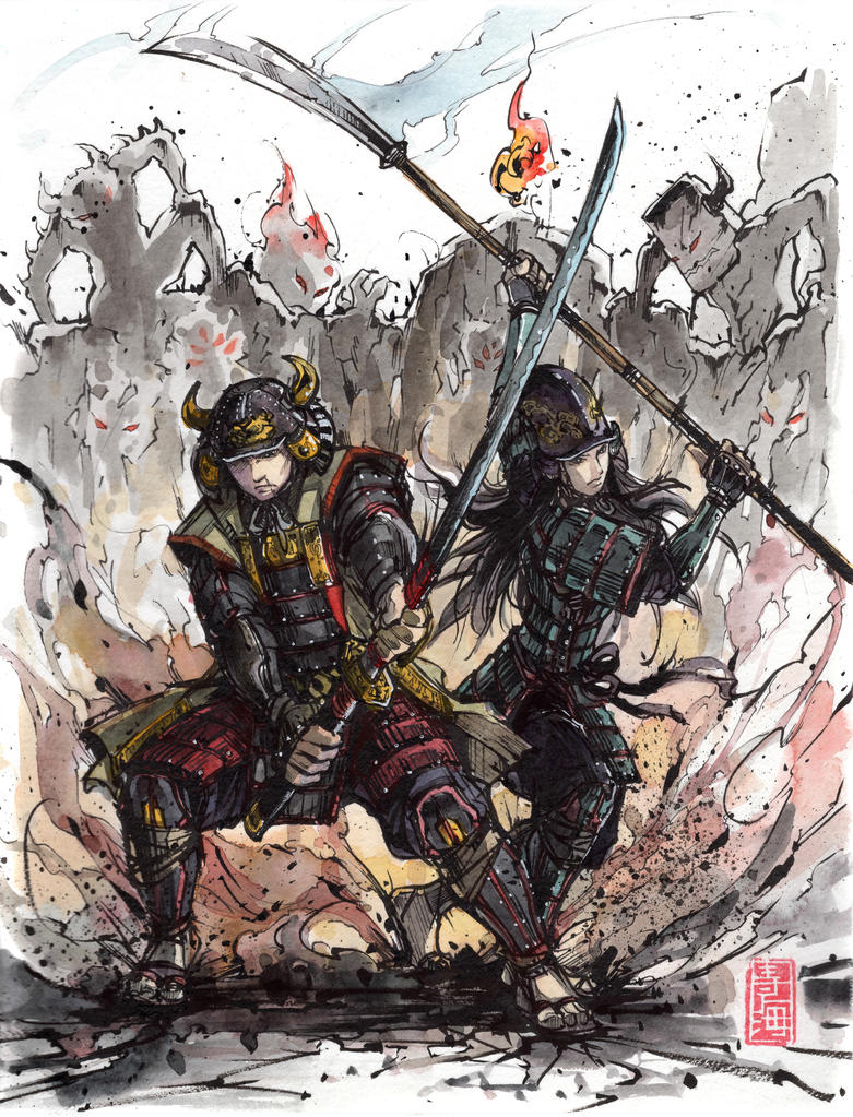Samurai Duo bracing to fight against Yokai horde by MyCKs