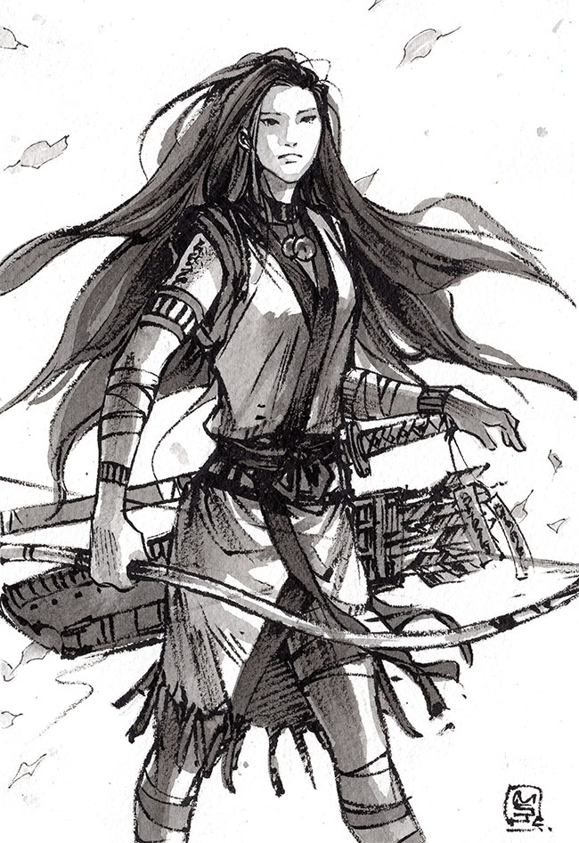 Pocahontas Samurai archer ink by MyCKs