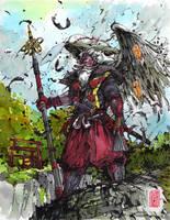 Yamabushi Tengu ink and watercolor by MyCKs