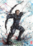 Hawkeye in action Watercolor and Sumi ink