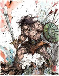 Conan the Barbarian Ink and Watercolor