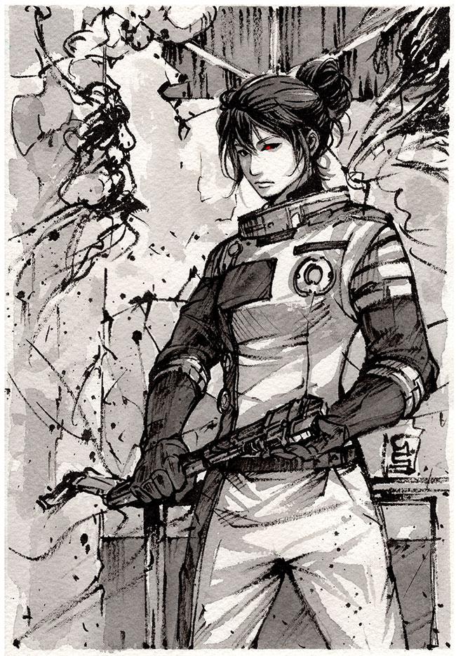 Morgan Yu ink sketch from Prey 2 by MyCKs