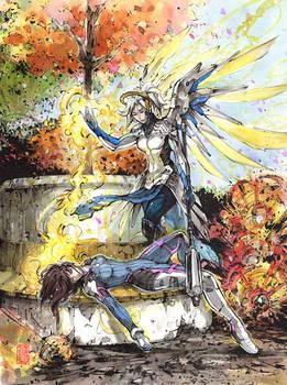 Dva and Mercy  - in the heat of battle -Resurrect