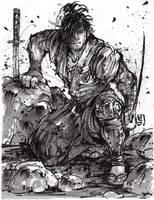 Samurai last stand - inktober2018 by MyCKs