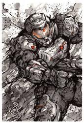Doomslayer ink sketch giveaway! by MyCKs