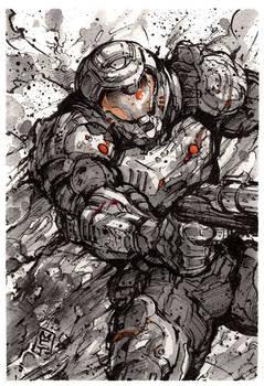 Doomslayer ink sketch giveaway!