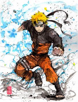 Naruto sumi and watercolor