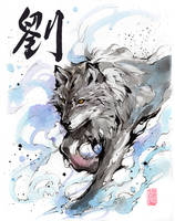 Wolf - sumi and watercolor by MyCKs