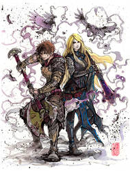 Warrior and Priestess Watercolor and sumi ink by MyCKs