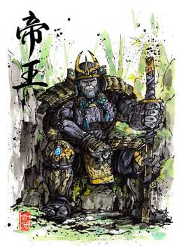 Thanos samurai Sumi watercolor with Calligraphy