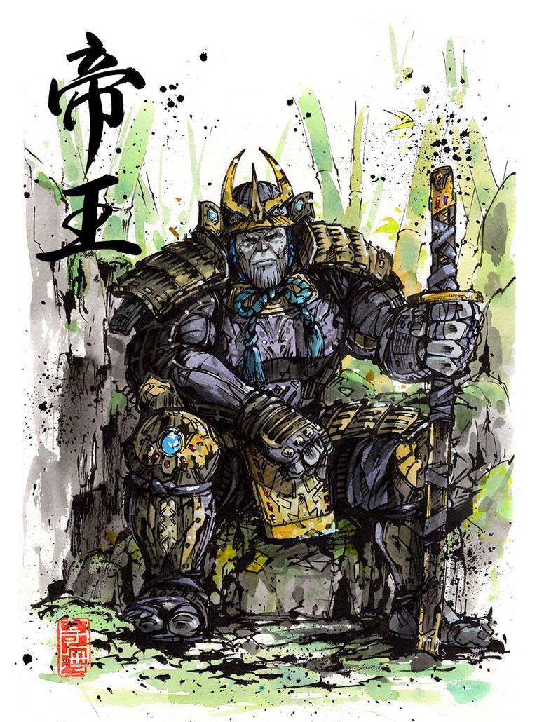 Thanos samurai Sumi watercolor with Calligraphy by MyCKs