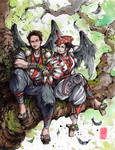 Tengu, a couple portrait