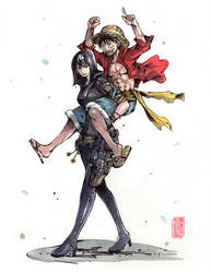 Robin and Luffy Piggyback! Watercolor