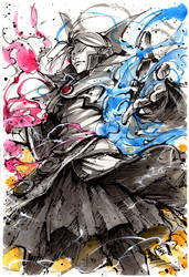 Invoker ink and watercolor