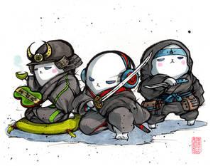 Mycks Seals Trio! Sumi and watercolor