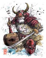 Santa Samurai Sumi and watercolor