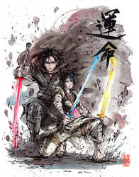 Samurai Kylo Ren and Rey Ink and Watercolor
