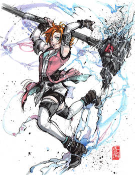 Nora from RWBY! Ink and watercolor