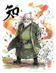 Uncle Iroh Ink and watercolor with calligraphy