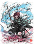 Tanjiro ink and watercolor