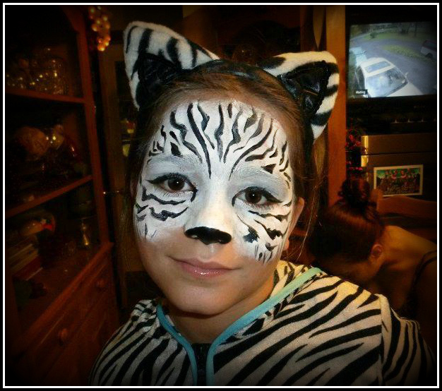 I would probably attempt some Zebra Face Paint For Halloween