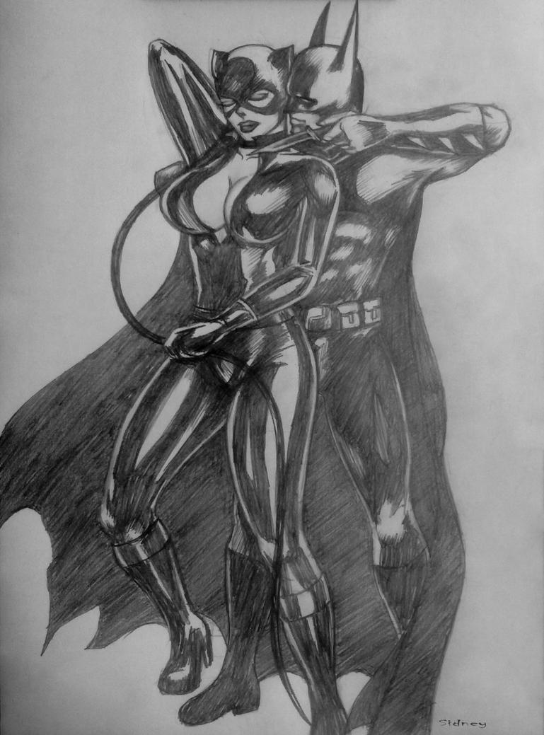 batman e catwoman by sidneydesenhus