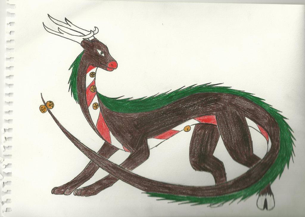 Christmas Dragon adoptable. o3o by Jade-the-Guilmon